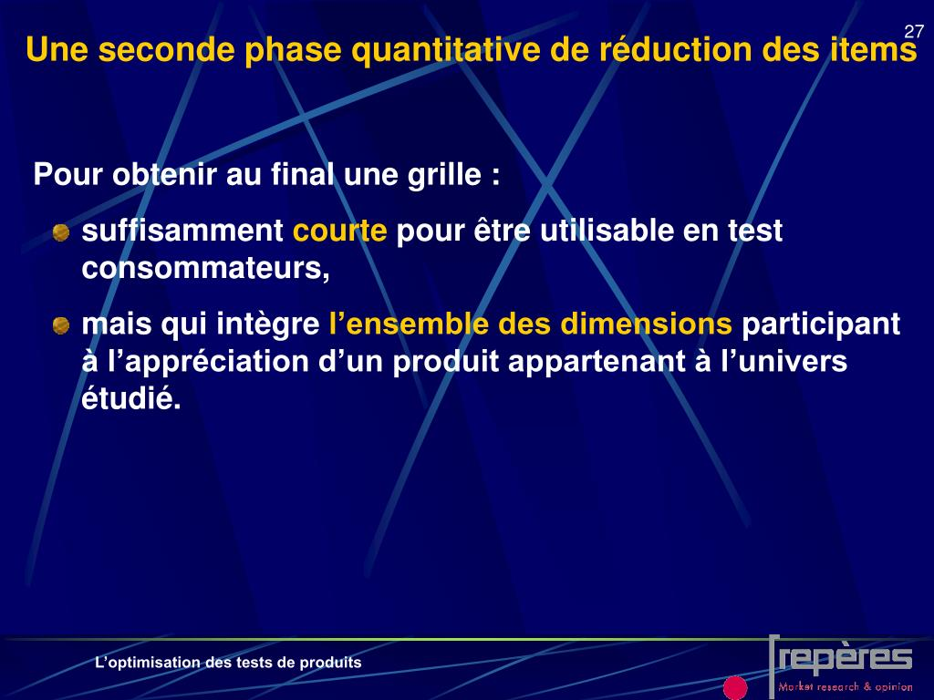 Une seconde phase quantitative de réduction des items