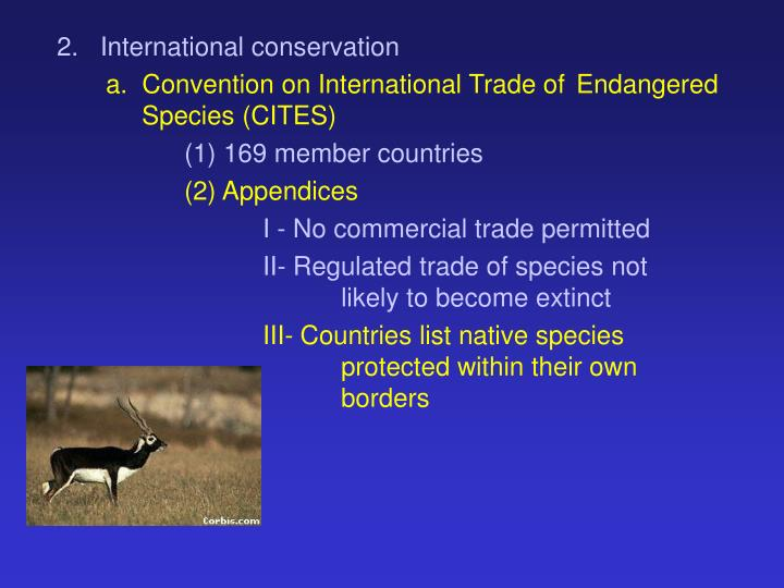 2.   International conservation