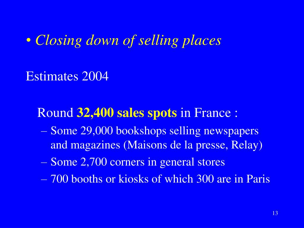 Closing down of selling places