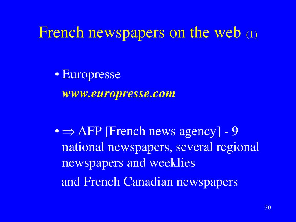 French newspapers on the web