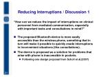 reducing interruptions discussion 1