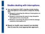 studies dealing with interruptions
