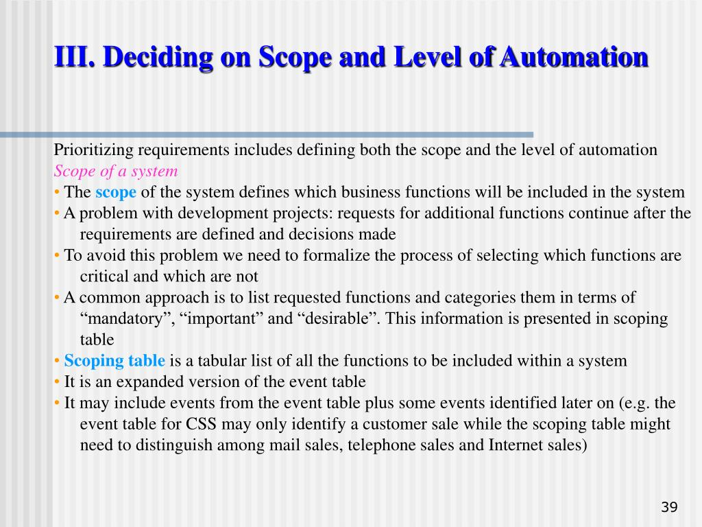 III. Deciding on Scope and Level of Automation