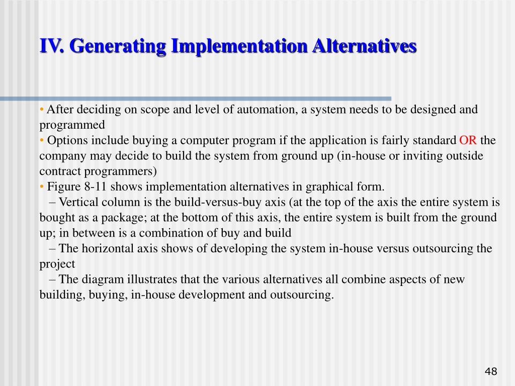 IV. Generating Implementation Alternatives