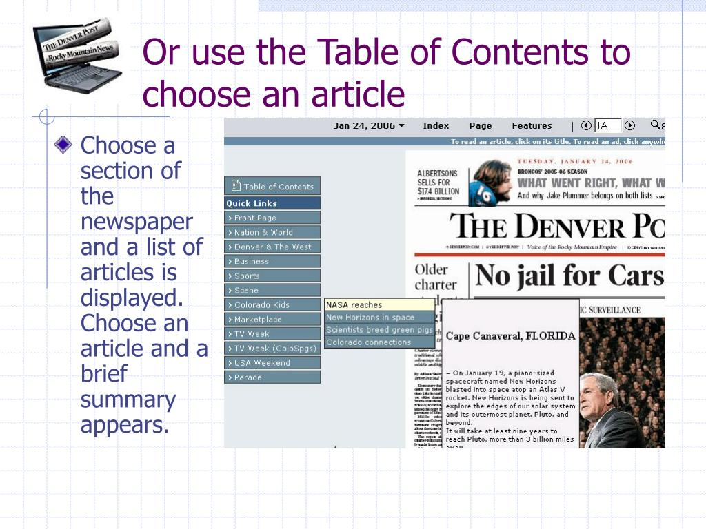Or use the Table of Contents to choose an article