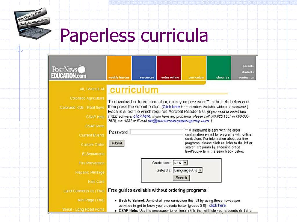Paperless curricula