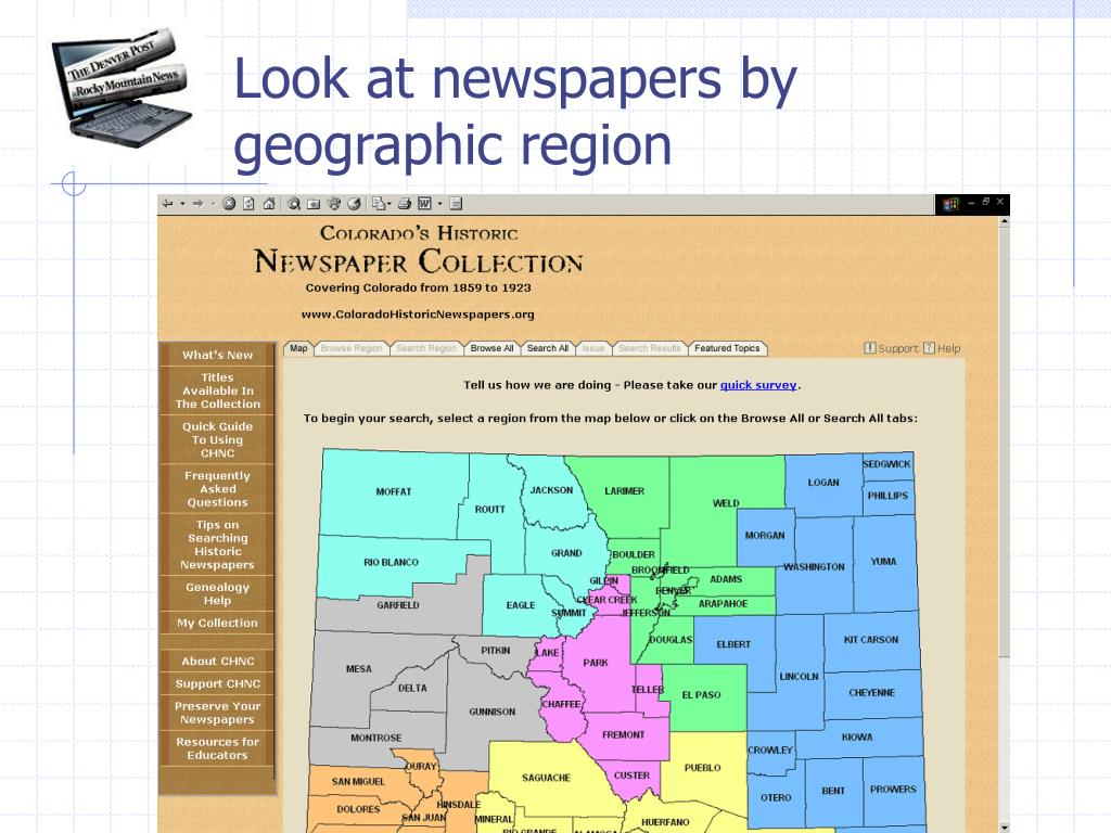 Look at newspapers by geographic region