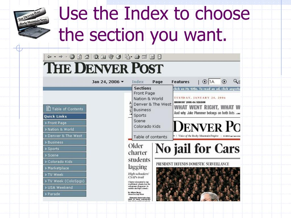 Use the Index to choose the section you want.