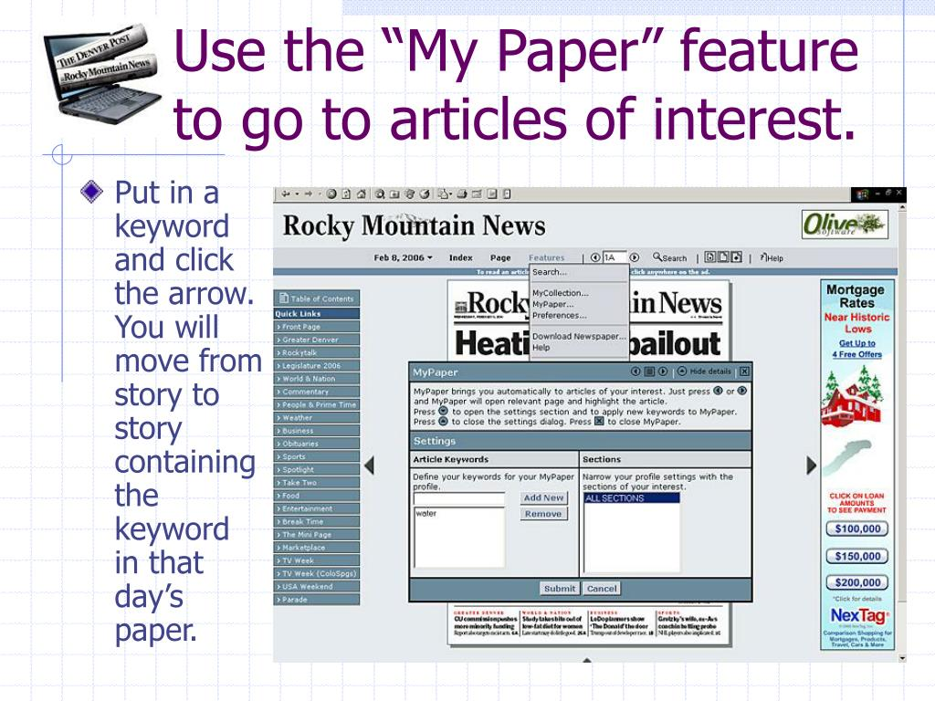 "Use the ""My Paper"" feature to go to articles of interest."
