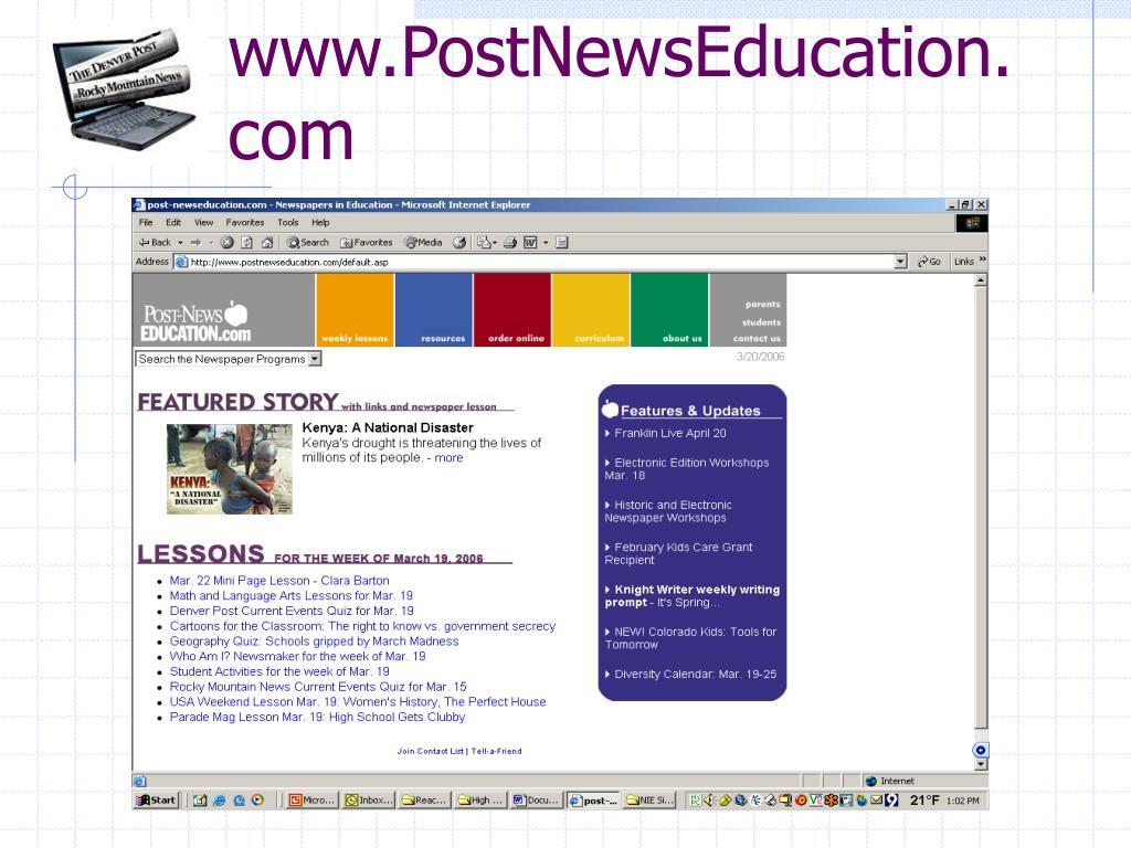 www.PostNewsEducation.com