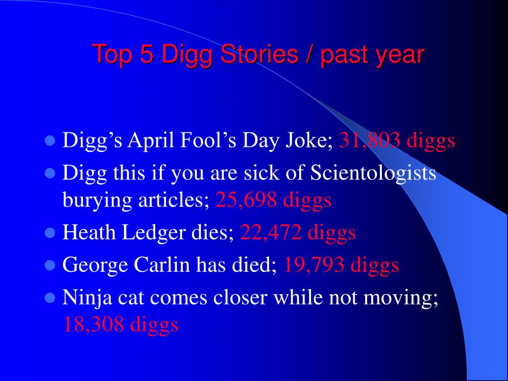 Top 5 Digg Stories / past year