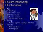 factors influencing effectiveness