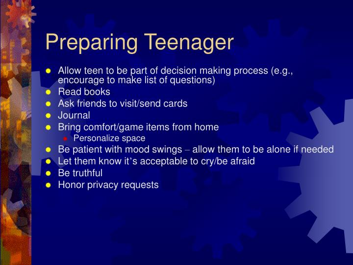Preparing Teenager