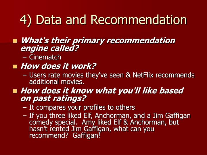 4) Data and Recommendation