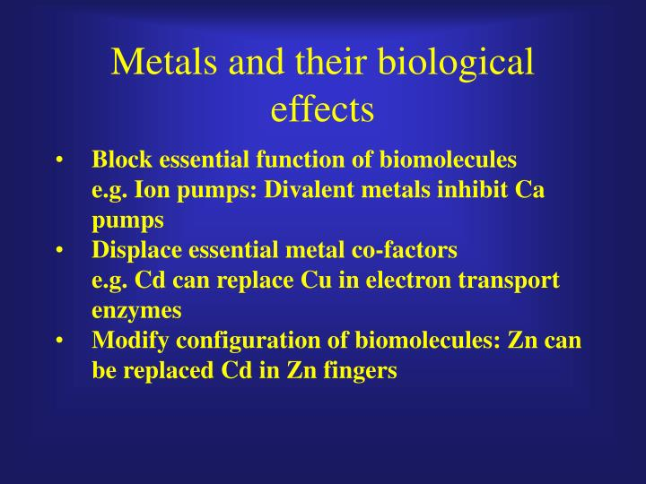 Metals and their biological effects