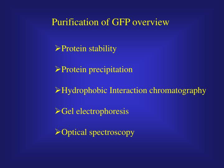 Purification of GFP overview