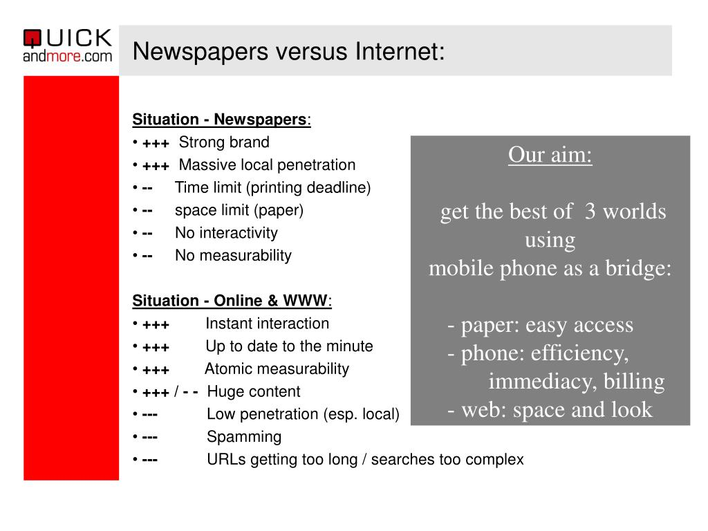 Newspapers versus Internet: