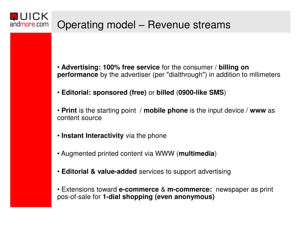 Operating model – Revenue streams
