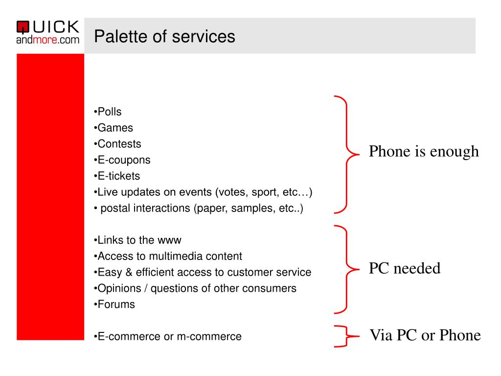 Palette of services