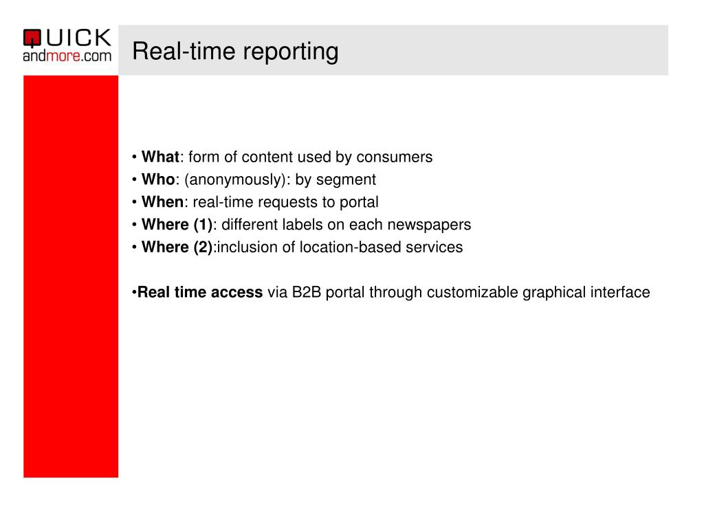 Real-time reporting
