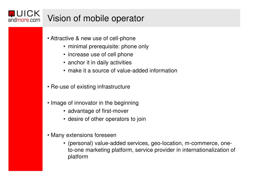 Vision of mobile operator