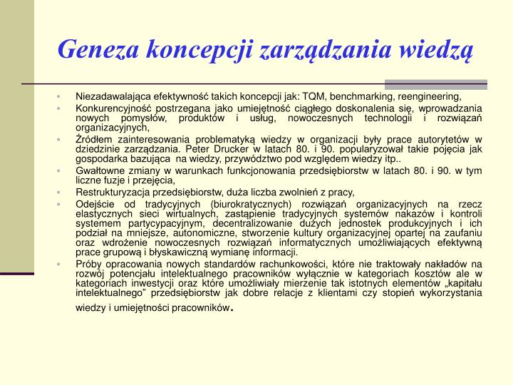 Geneza koncepcji zarządzania wiedzą