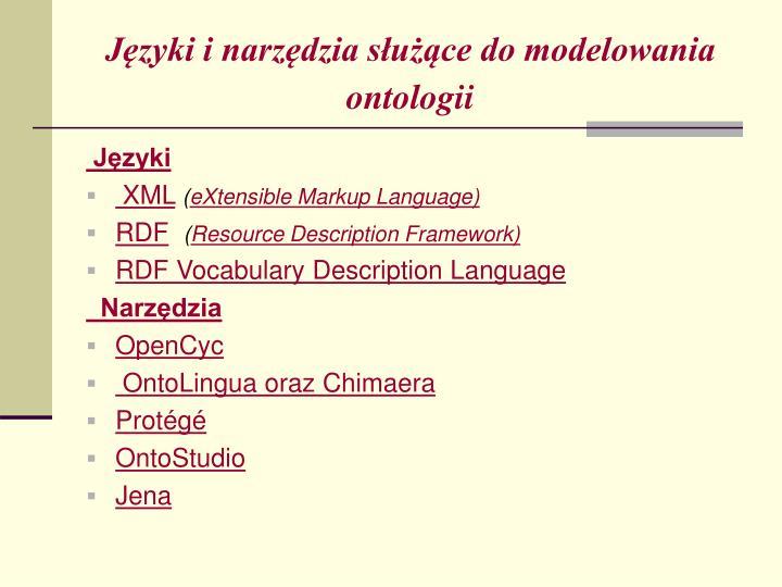 Języki i narzędzia służące do modelowania ontologii
