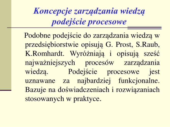 Koncepcje zarządzania wiedzą               podejście procesowe