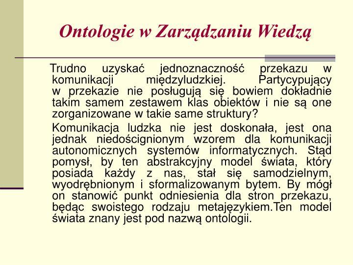 Ontologie w Zarządzaniu Wiedzą
