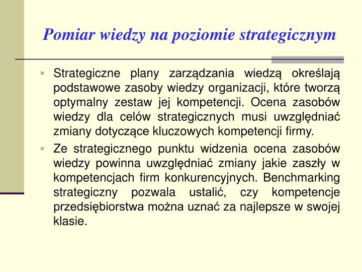 Pomiar wiedzy na poziomie strategicznym