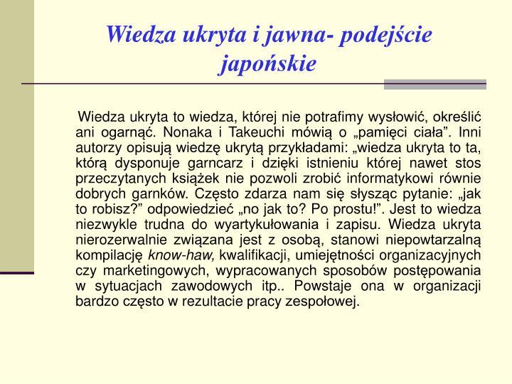 Wiedza ukryta i jawna- podejście japońskie