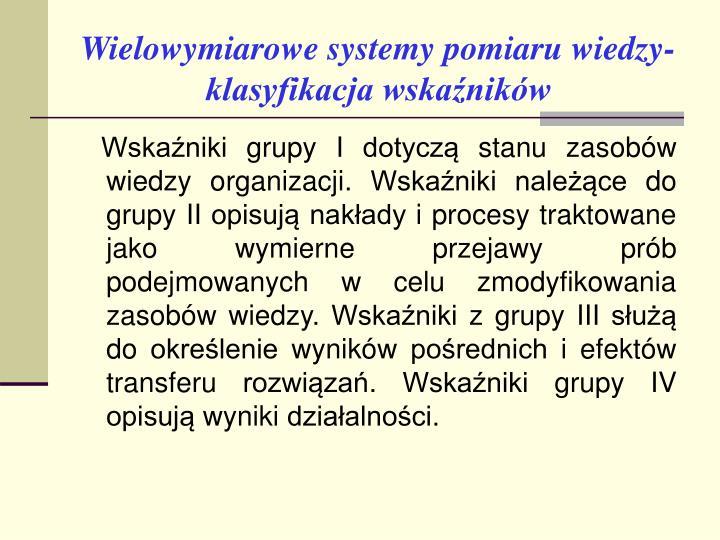Wielowymiarowe systemy pomiaru wiedzy- klasyfikacja wskaźników