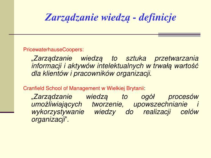 Zarządzanie wiedzą - definicje