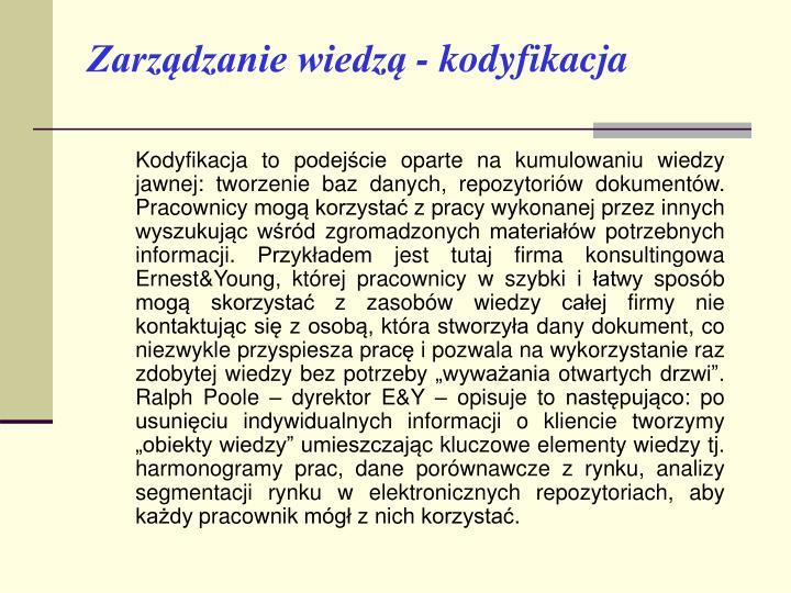 Zarządzanie wiedzą - kodyfikacja