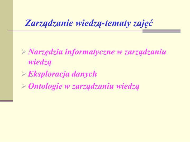 Zarządzanie wiedzą-tematy zajęć