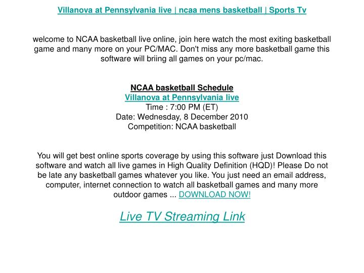 Villanova at Pennsylvania live | ncaa mens basketball | Sports Tv