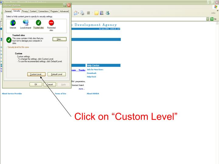 "Click on ""Custom Level"""