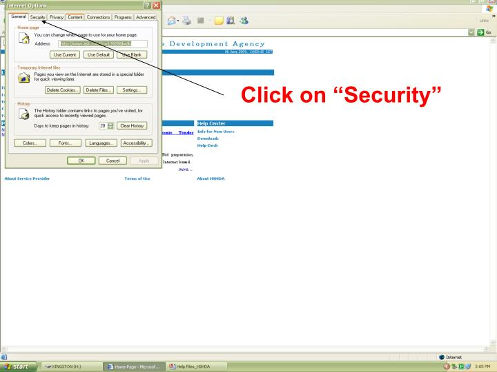 "Click on ""Security"""