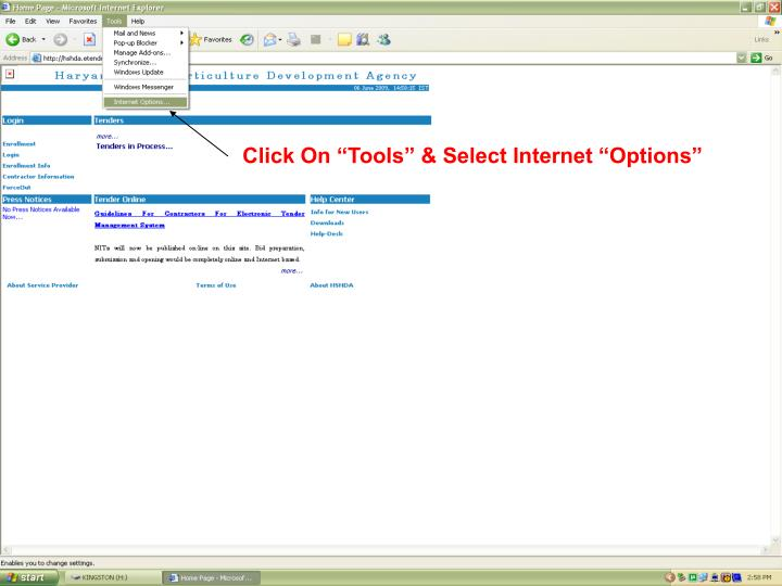Click on tools select internet options