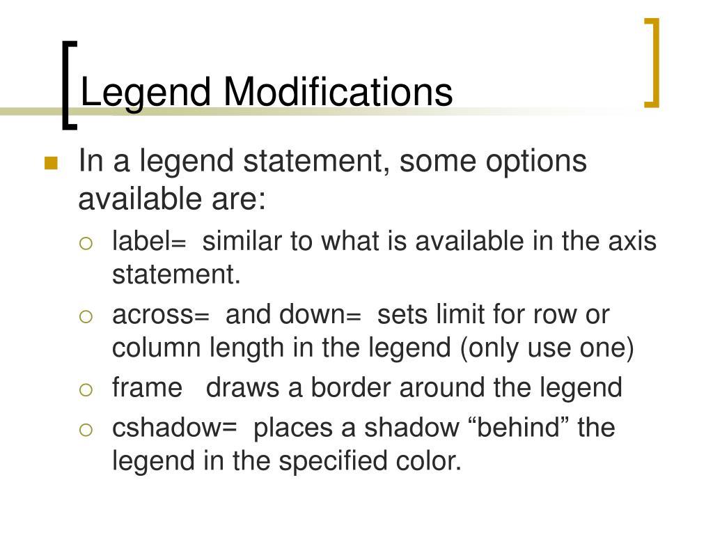 Legend Modifications