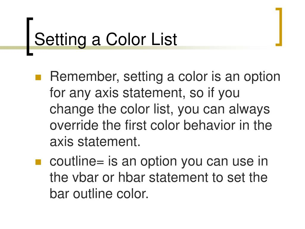 Setting a Color List