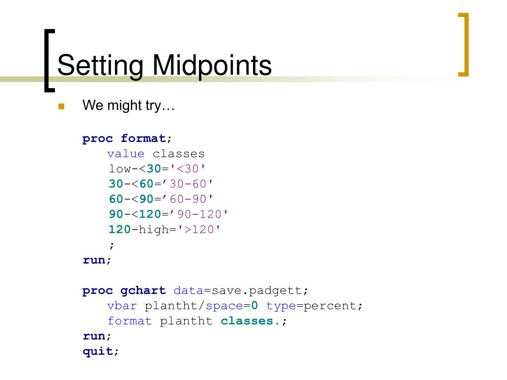Setting Midpoints
