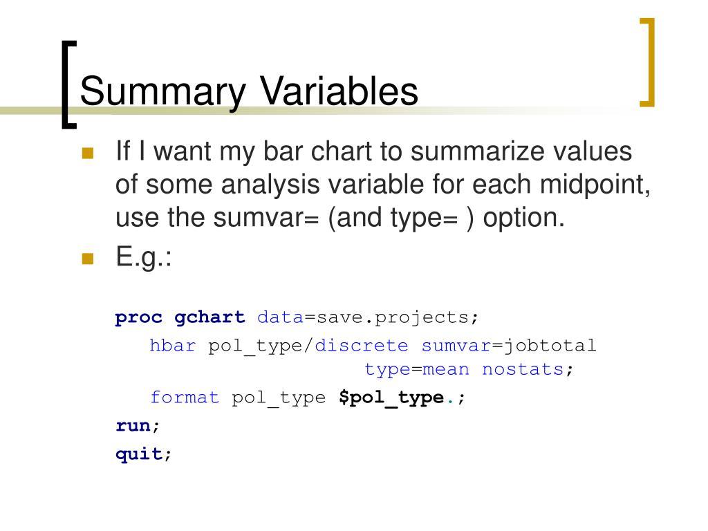 Summary Variables
