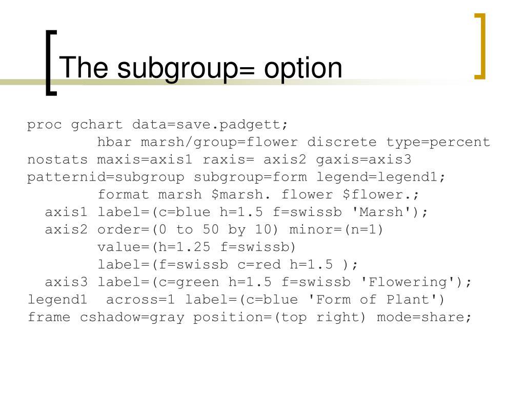 The subgroup= option
