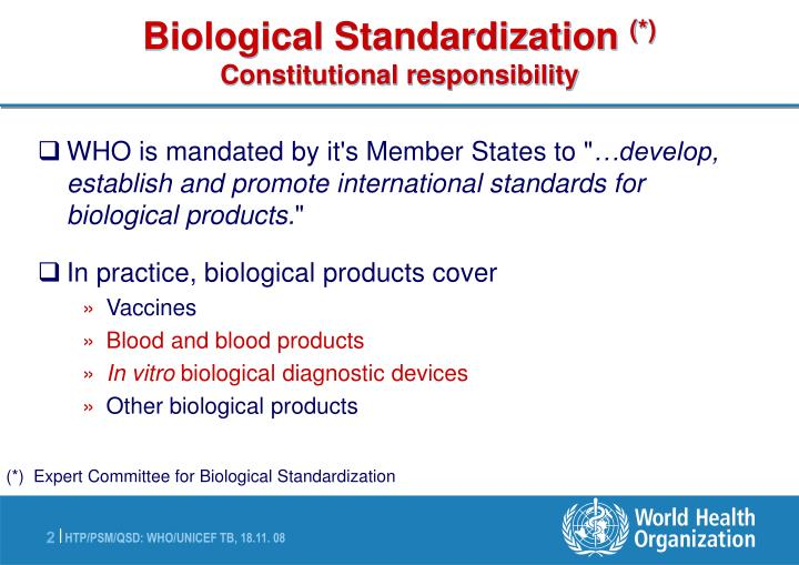 Biological standardization constitutional responsibility