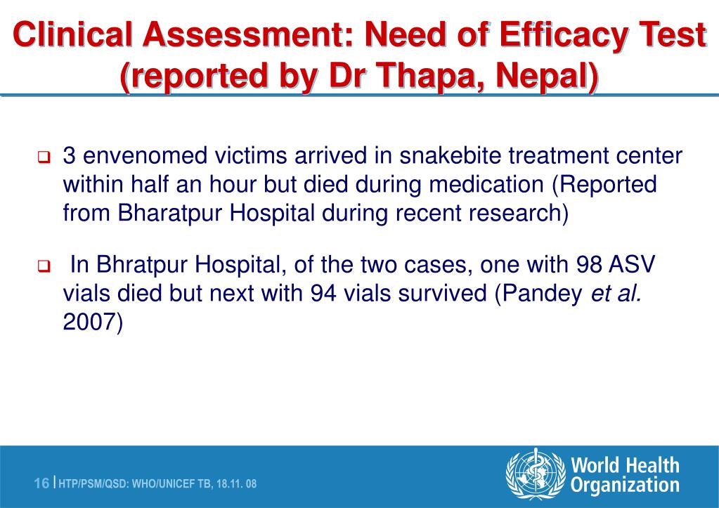 Clinical Assessment: Need of Efficacy Test