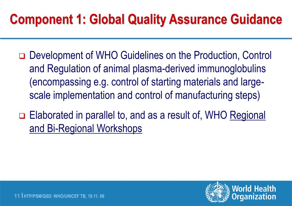 Component 1: Global Quality Assurance Guidance
