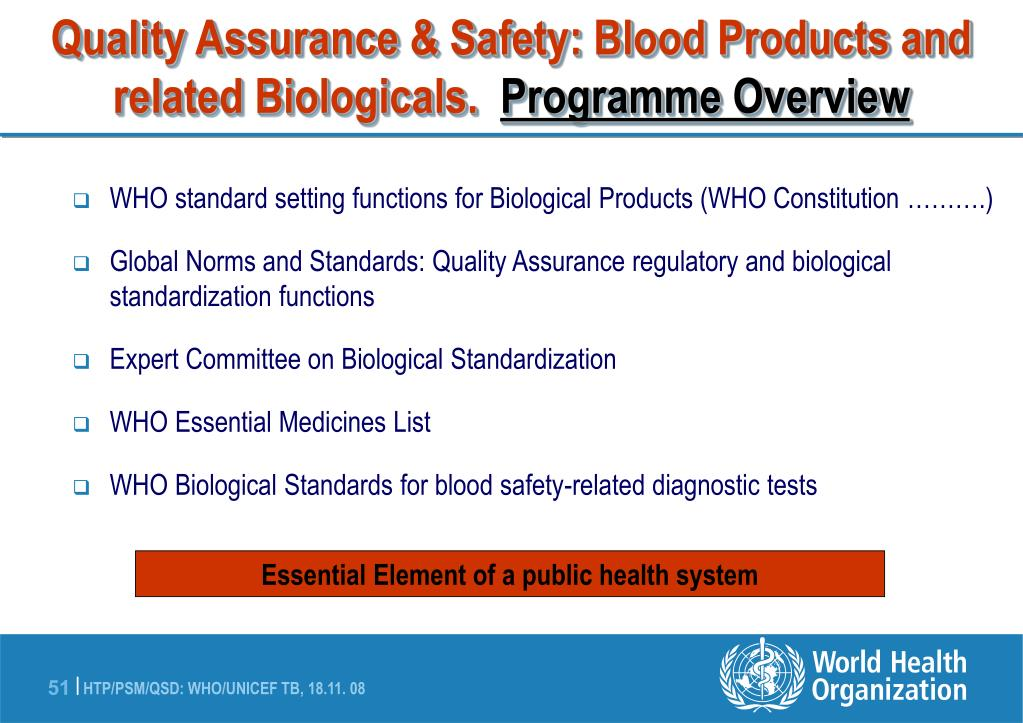 Quality Assurance & Safety: Blood Products and related Biologicals.