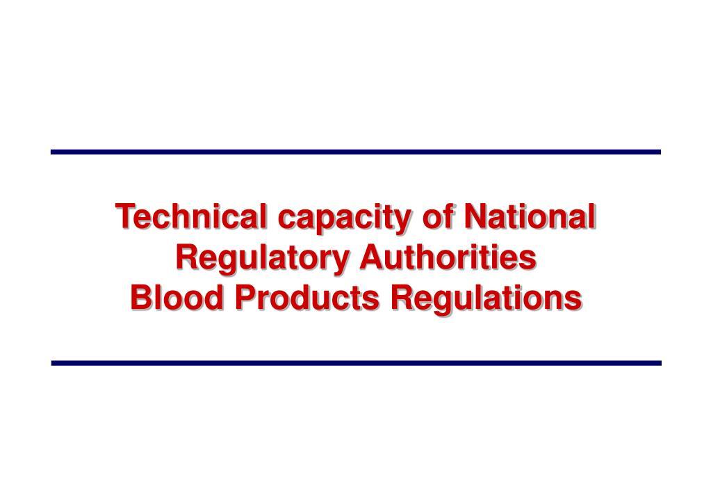Technical capacity of National Regulatory Authorities
