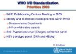 who ivd standardization priorities 2009